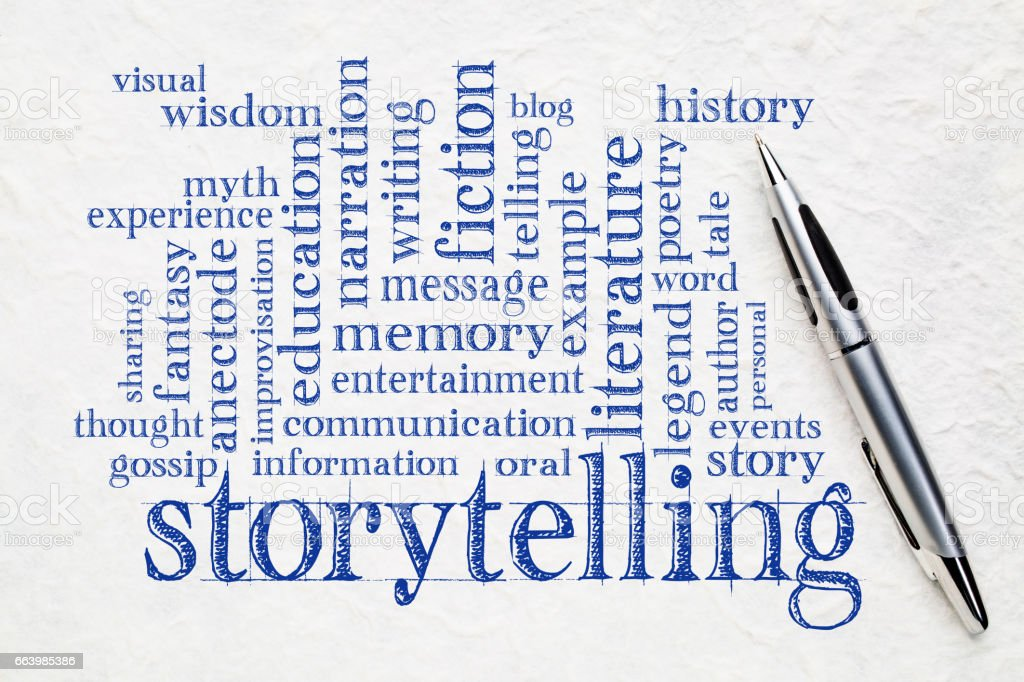 storytelling  word cloud on paper stock photo