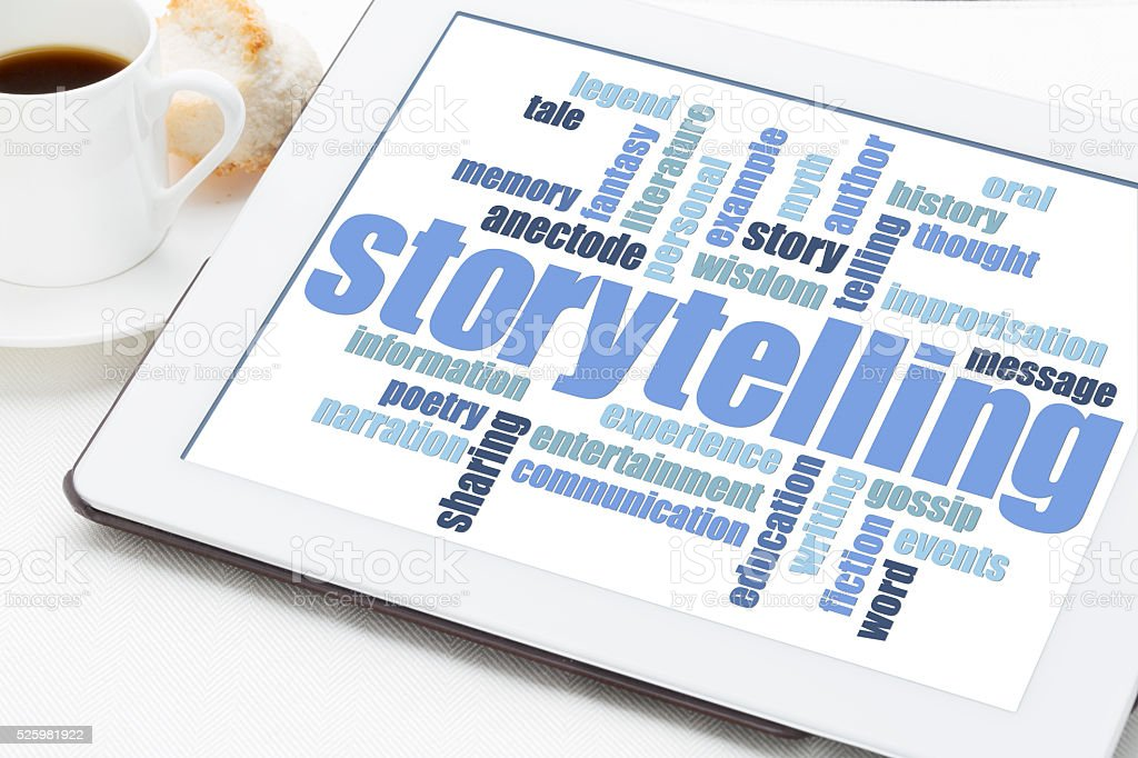 storytelling  word cloud on tablet stock photo