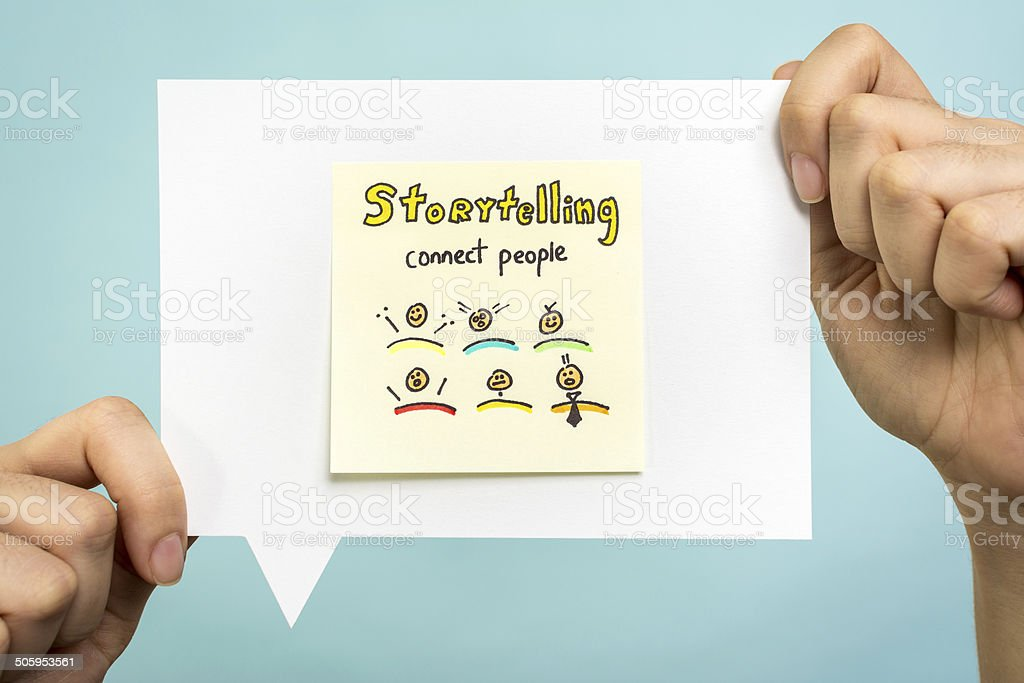 Storytelling word, content marketing, connect people on speech bubble stock photo