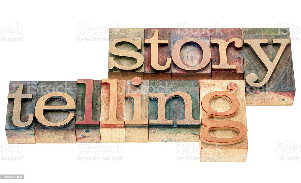 storytelling word in wood type royalty-free stock photo