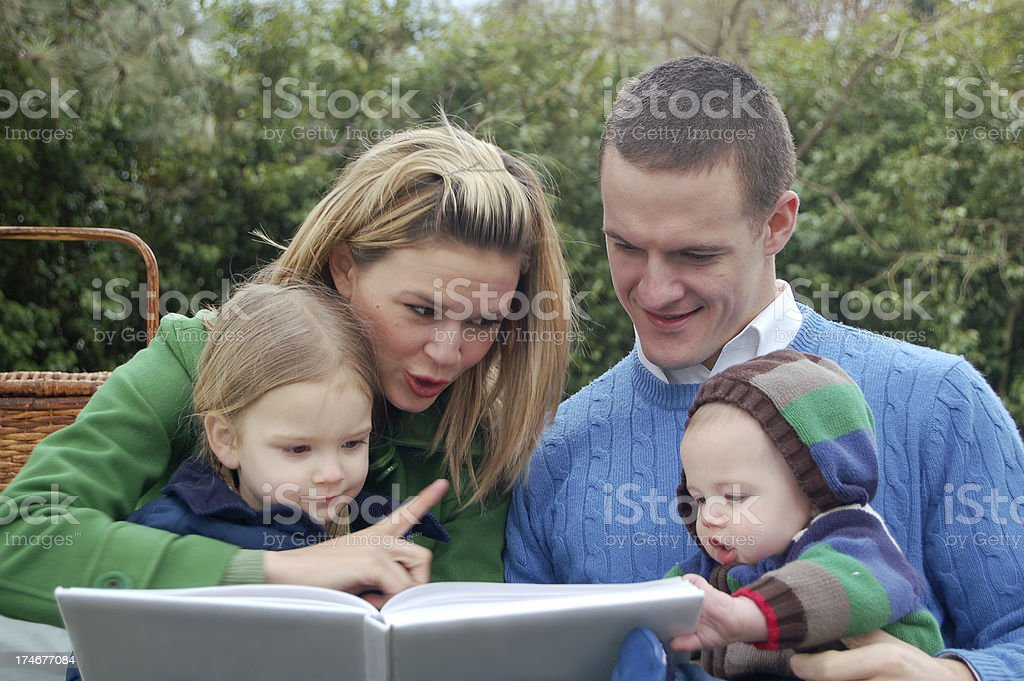 Storytime at Family Picnic royalty-free stock photo