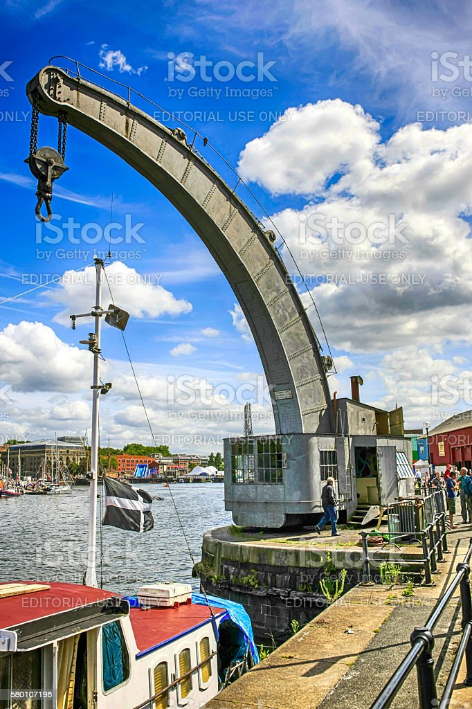 Stothart & Pitt Steam Crane in Bristol docks, UK stock photo