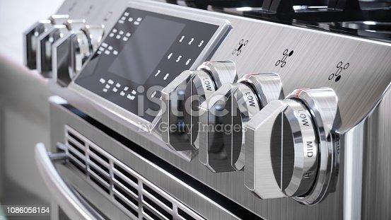 istock Stove control panel macro shot. 1086056154