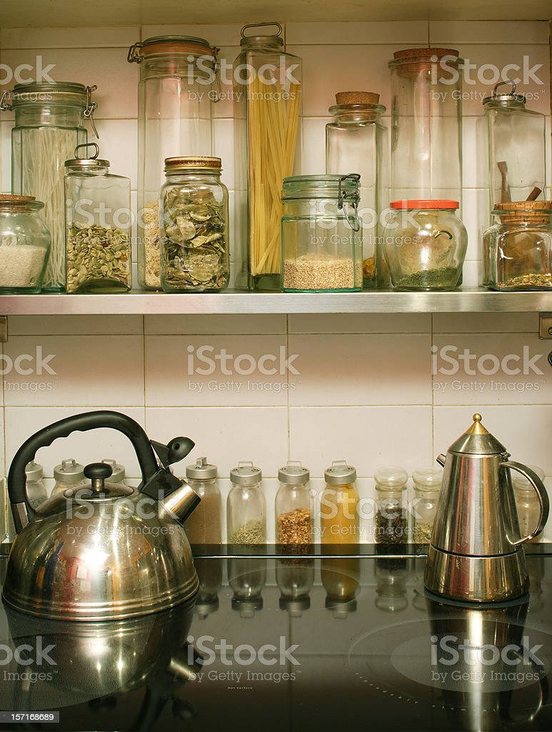 stove, pots and jars royalty-free stock photo