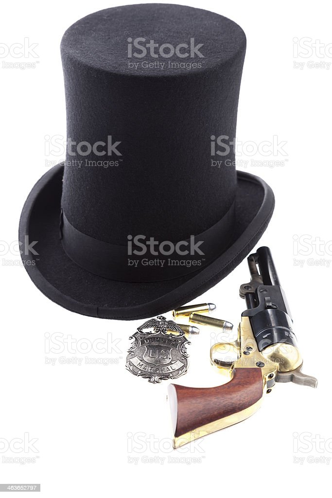 Stovepipe Hat With Lawman's Weapons stock photo