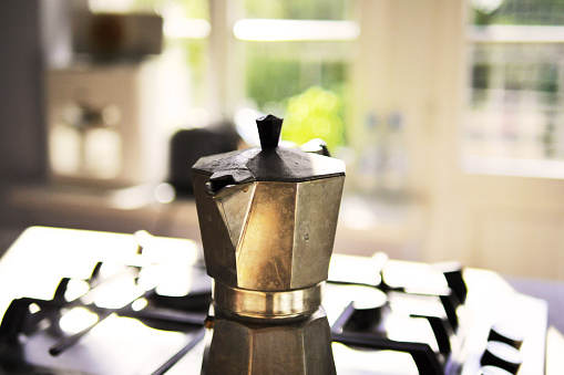 Stovetop Espresso Maker in Sunlit Kitchen