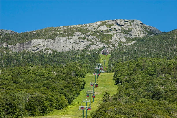 stowe gondola on mt. mansfield - low contrast stock pictures, royalty-free photos & images