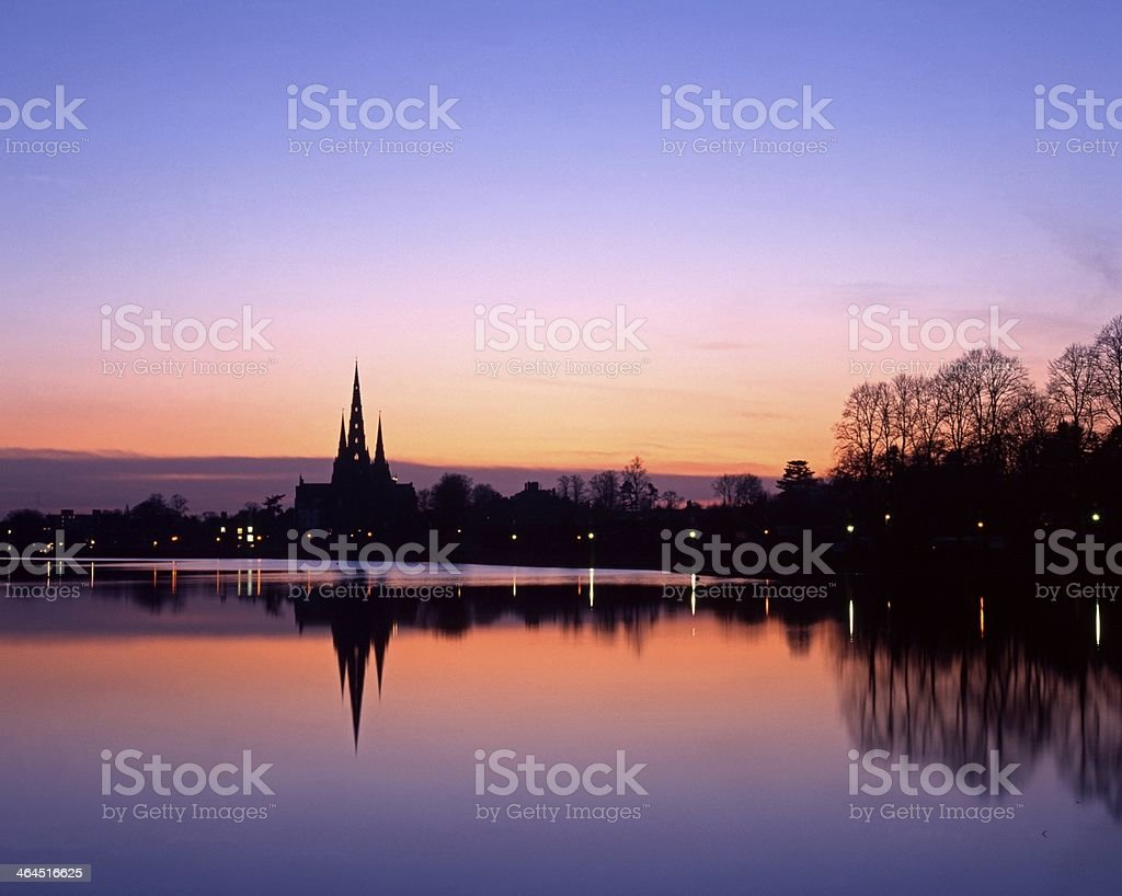 Stowe Pool and Cathedral, Lichfield, England. stock photo