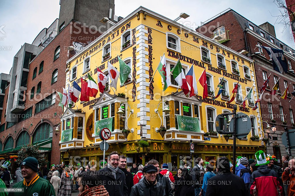 St.Patricks Tag in Temple Bar-Dublin, Irland. – Foto
