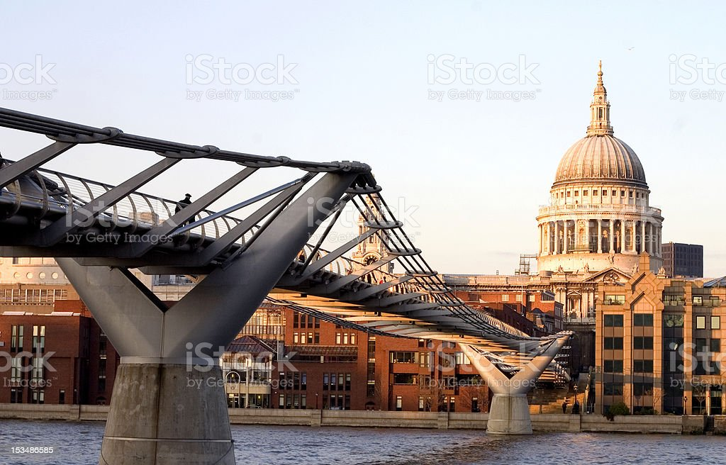 St.Paul Cathedral. From Tate Modern Thames River Millennium Bridge stock photo