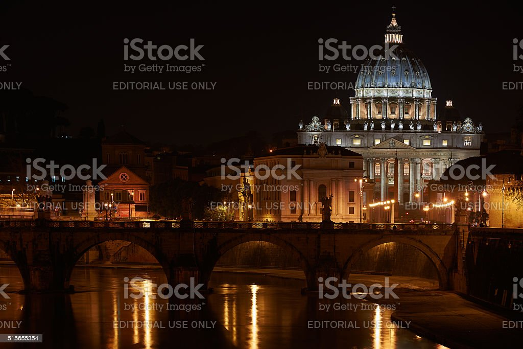 St.Peter basilica in Vatican in night time stock photo