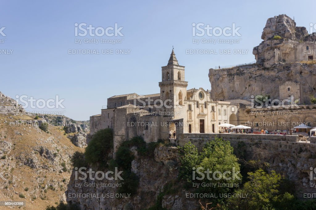 St. Peter Caveoso kilise Matera kayalık dağ geçidi - Royalty-free Antik Stok görsel