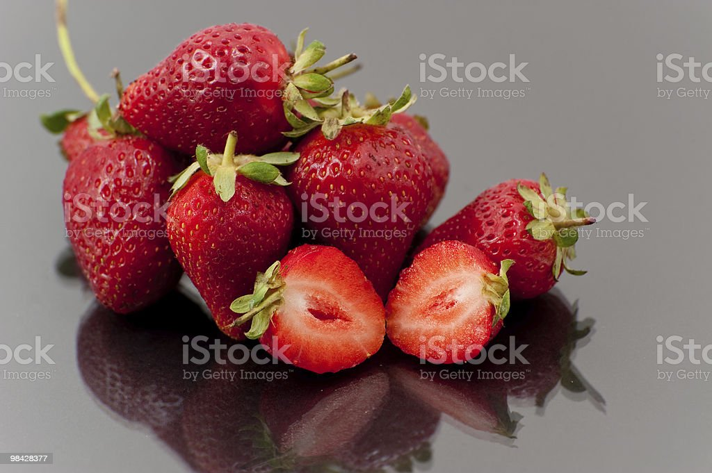 straberries on black background royalty-free stock photo