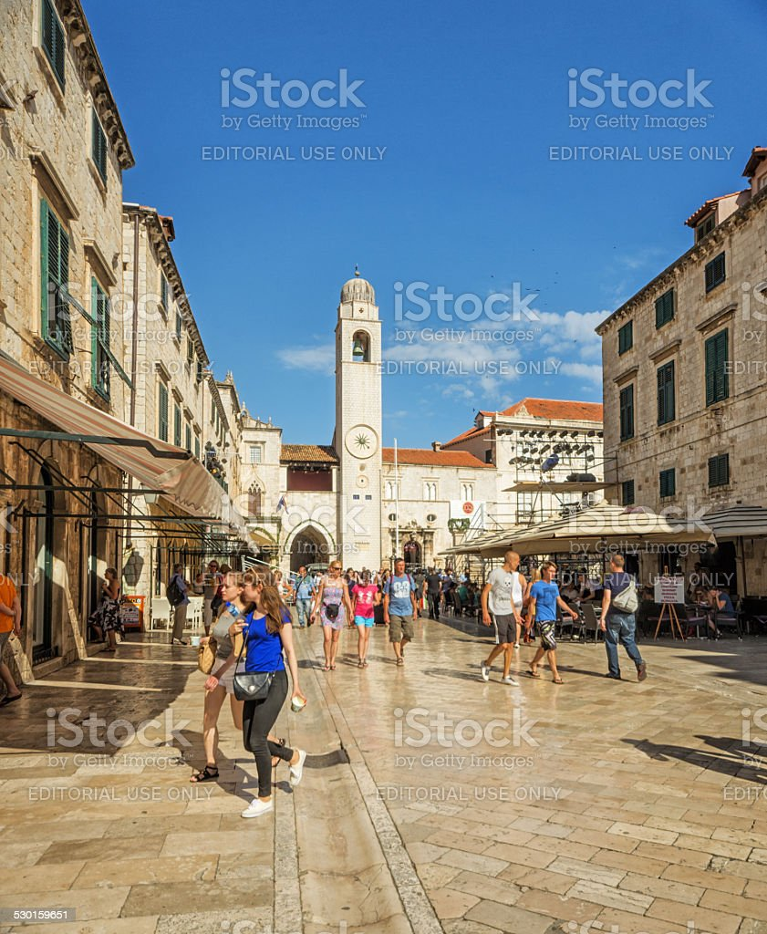 Stradun, Dubrovnik - Croatia. Tourist enjoy sunny summer day stock photo