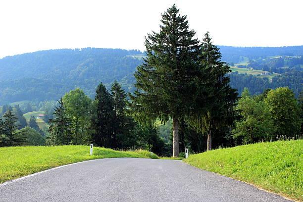 Straße ohne Ziel Straße führt den Berg hinunter ziel stock pictures, royalty-free photos & images