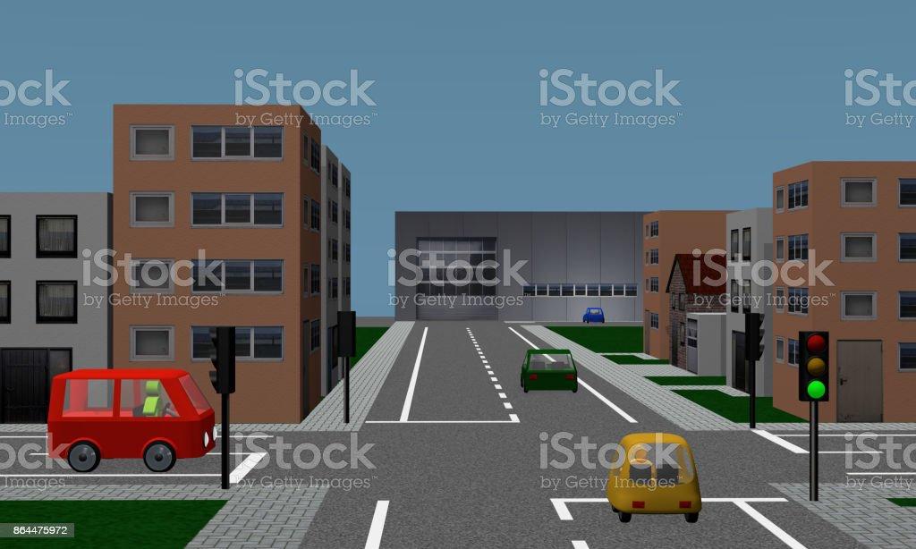 Straßenkreuzung Mit nachberufliche, Autos, Formprinzipien Und Fabrik. – Foto
