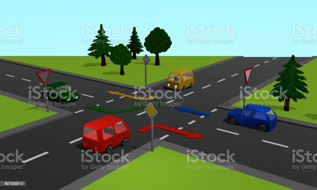 Straßenkreuzung Mit Den Schildern Vorfahrtsstraße Und Vorfahrt Gewähren Sowie Richtungspfeilen – Foto