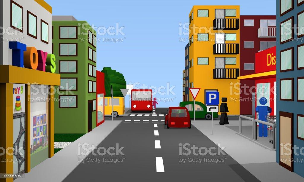 Straßenszene Mit Vorfahrt Gewähren Kreuzung, Parkplatzschild, Bus, Autos Und Formprinzipien. – Foto
