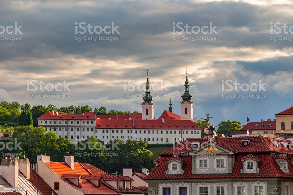 Strahov Monastery at sunset, Prague, Czech Republic royalty-free stock photo
