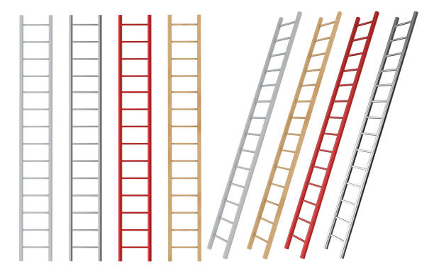 straight and lean ladders isolated stock photo