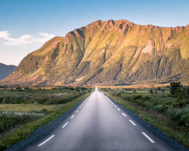Straight asphalt road with mountain landscape against blue sky in Lofoten, Norway stock photo