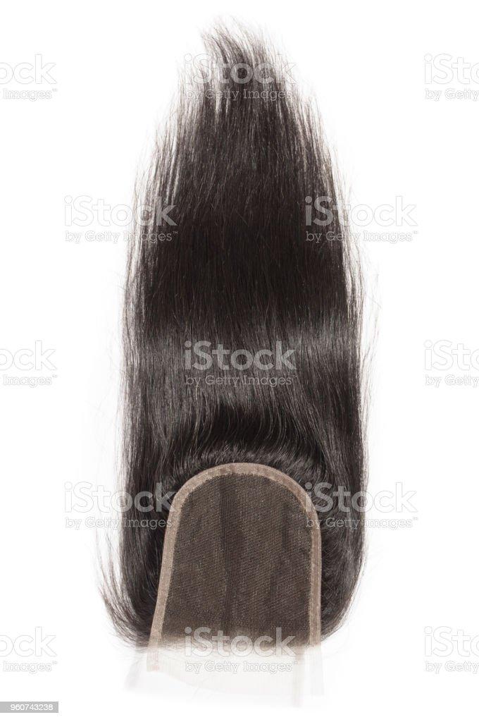 cabelos lisos e negros tecer fecho de laço de extensão - foto de acervo