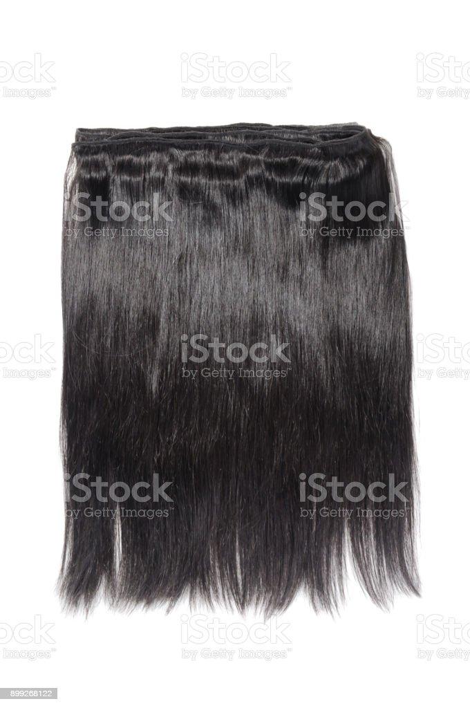 Cabelos lisos e negros tecer extensões - foto de acervo