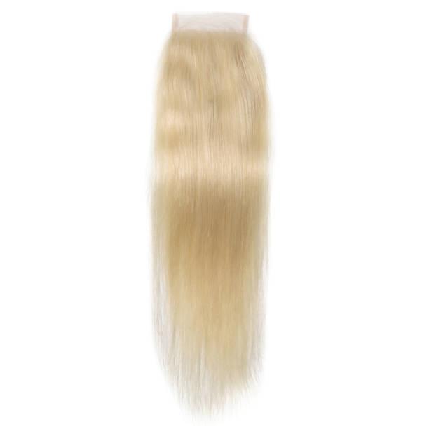 straight bleached blonde human hair weave extension lace closure - capelli ossigenati foto e immagini stock
