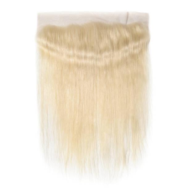 straight bleached blonde human hair weave extension lace frontal - capelli ossigenati foto e immagini stock