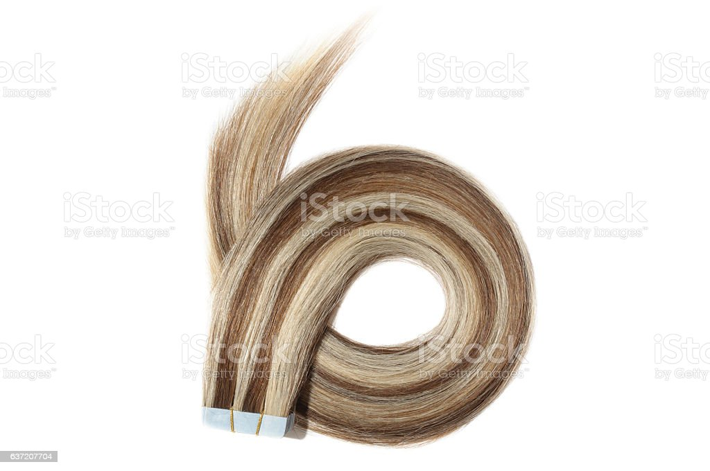 straight brown mix highlights adhesive tape in human hair extensions - foto de acervo