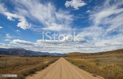 Dirt road in desert. Long and straight