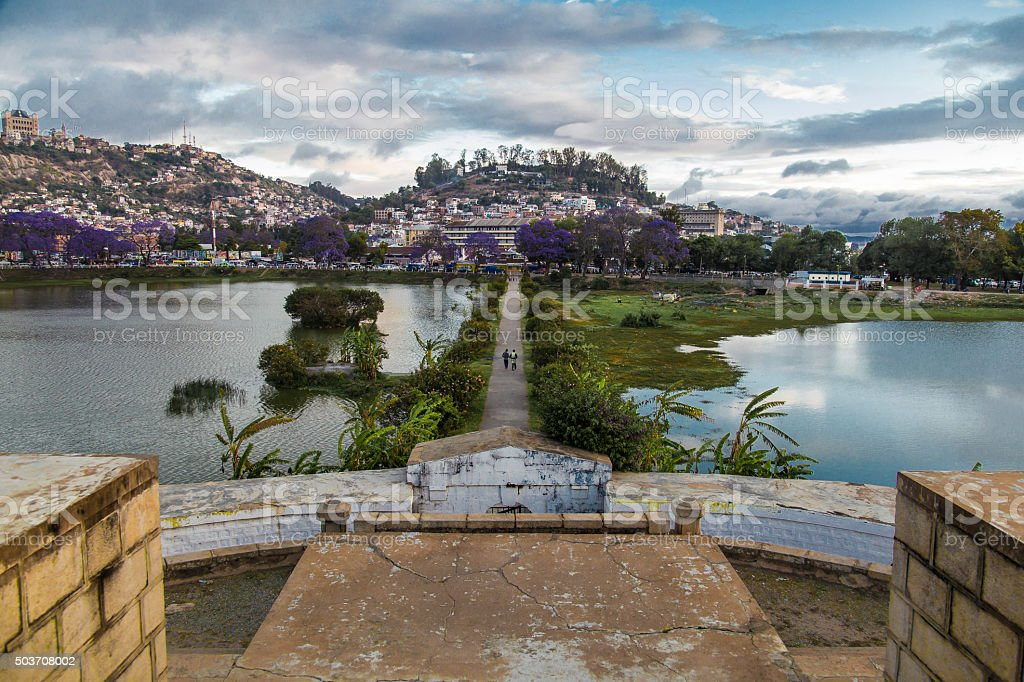 Straight dividing line in Lac Anosy, Antananarivo. stock photo