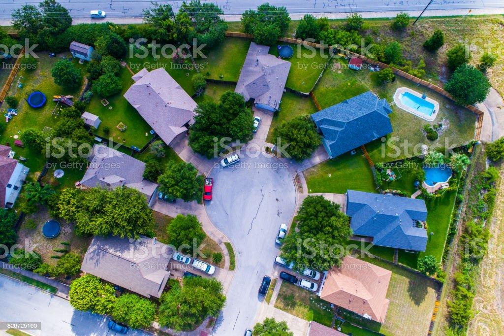 Straight Down Above Cul De Sac Aerial Drone View Above Suburb Austin ...