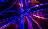Straight down drone angle above transportation highways infrastructure and travel time in a ultraviolet finish
