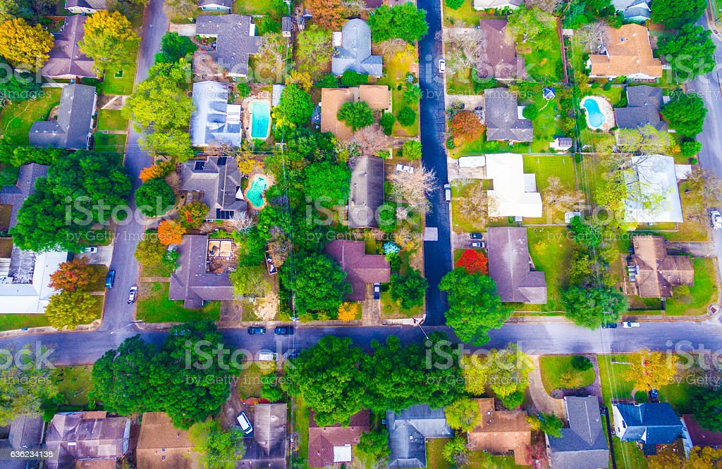 Straight Down Sunset Suburban Homes North of Austin stock photo
