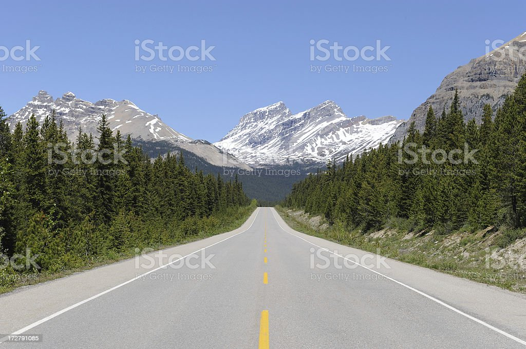 Straight Empty Road into the Mountains royalty-free stock photo