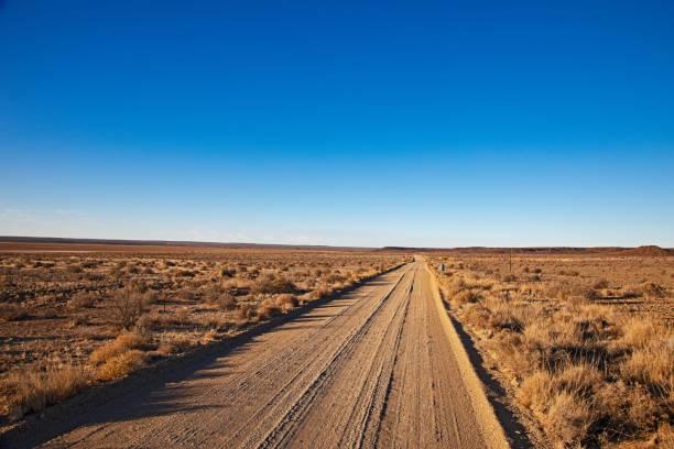 gerade schotterstraße in trockener karoo-region - afrikanische steppe dürre stock-fotos und bilder