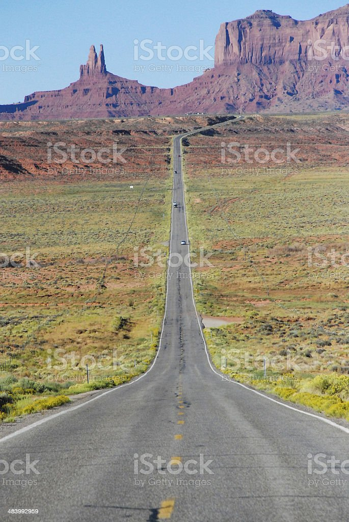 Straight Highway View to Monument Valley Utah royalty-free stock photo
