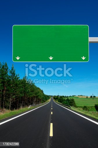 istock Straight Highway with Blank Roadsign 173242299