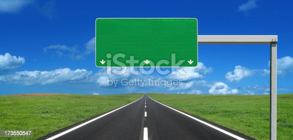 istock Straight Highway with Blank Roadsign 173550547