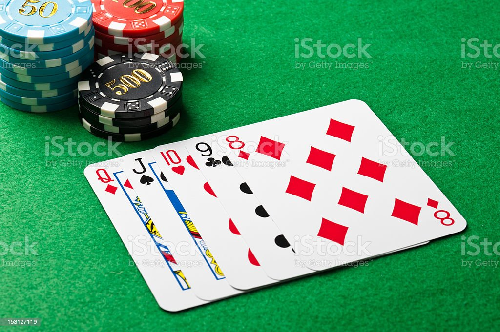 Straight in poker royalty-free stock photo