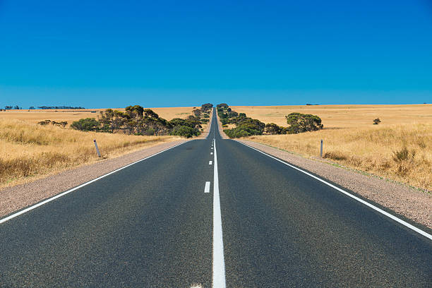 Straight line Australian highway in rural outback Straight line Australian highway in rural outback, Remote countryside landscape straight stock pictures, royalty-free photos & images