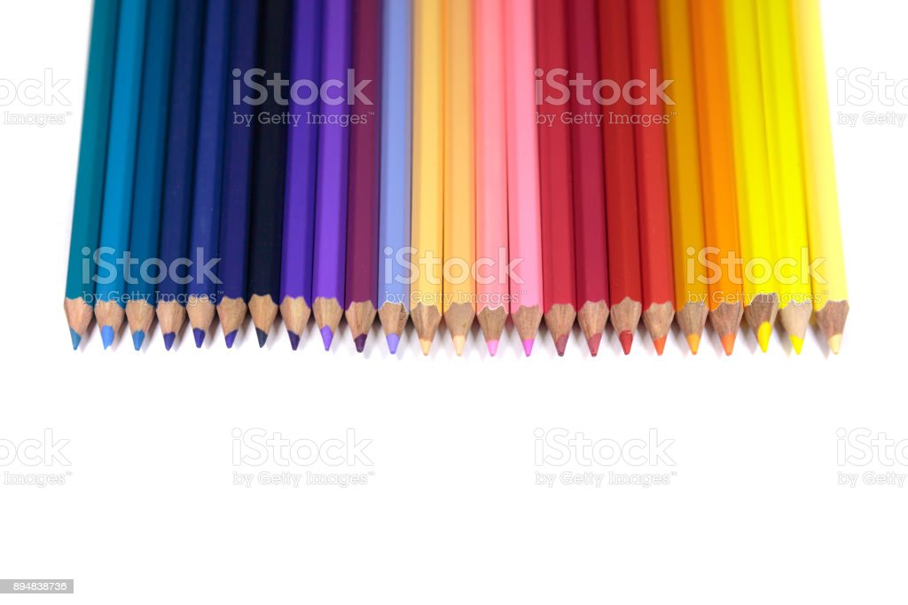 Straight Line of Color Pencils for Kids Isolated on Pure White Background stock photo