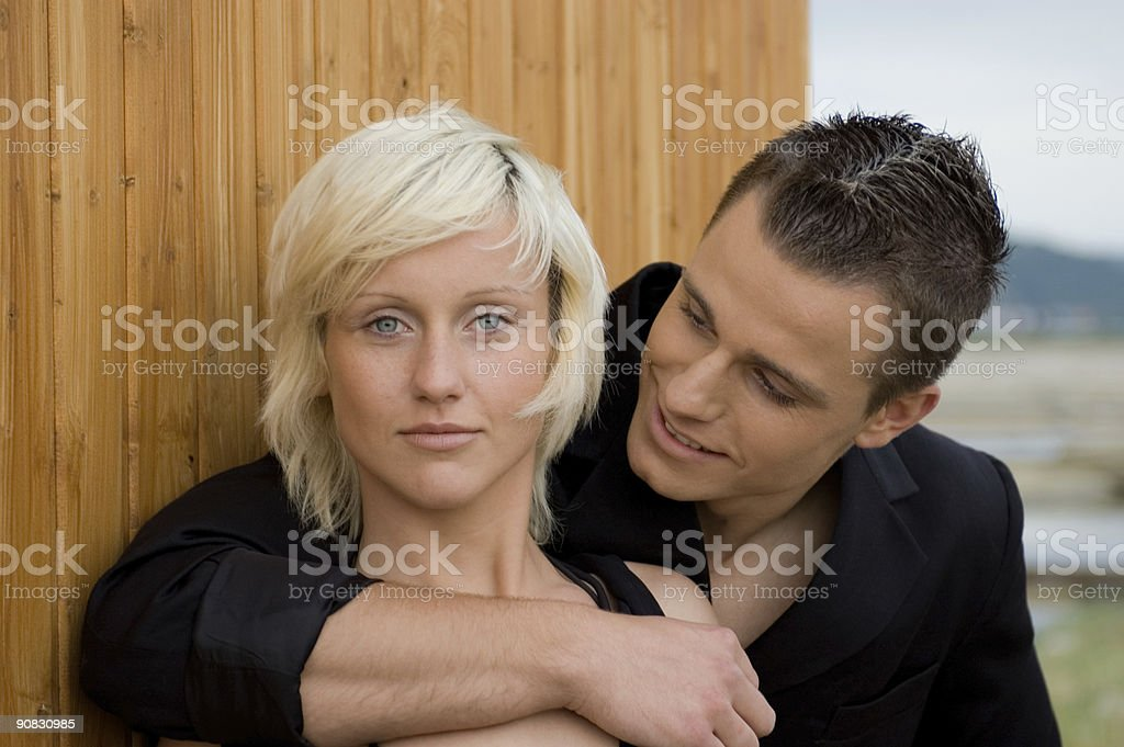 Straight looking girl with boyfriend stock photo