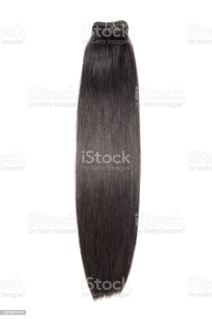 Cabelo humano preto direto natural tecer pacotes de extensão - foto de acervo