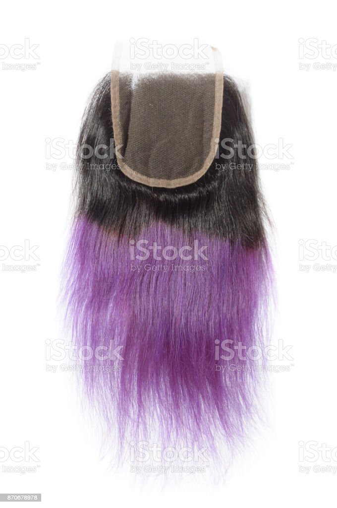 Straight Ombre Two Tone Black With Purple Human Hair Weave Extension