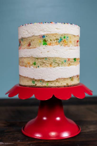 Straight On View of Funfetti Cake stock photo
