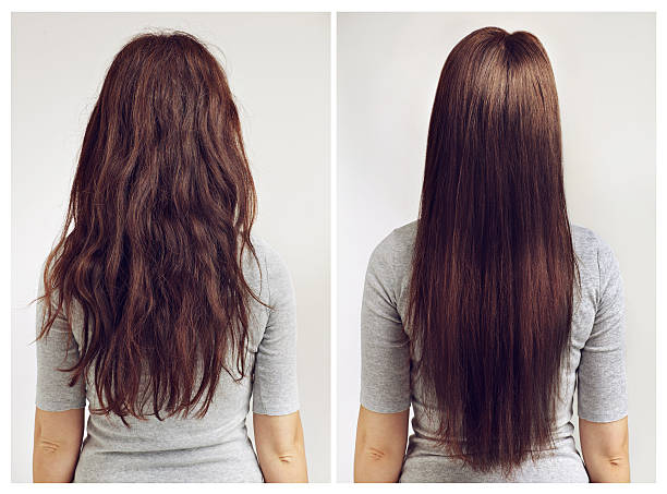 Straight or curly? Before and after shot of a woman with curly and straight hair straight hair stock pictures, royalty-free photos & images