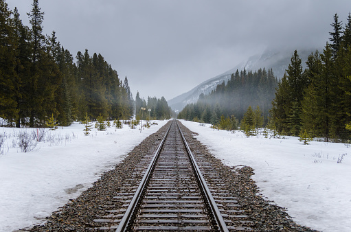 Straight Railway Track through a Foggy Winter Landscape