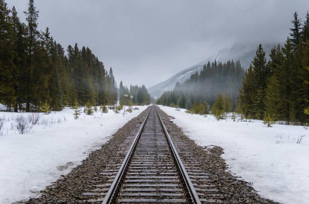 Straight Railway Track through a Foggy Winter Landscape – Foto